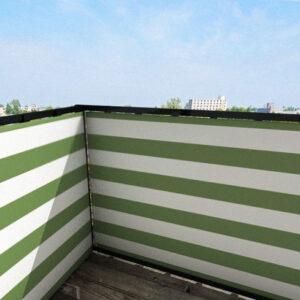 Balkonafscheiding gestreept olijfgroen
