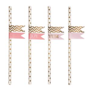 papieren rietjes goud met stickers Villa Madelief