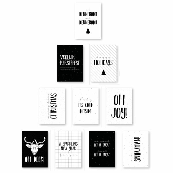 Hippe zwart wit kerstkaarten moodz design