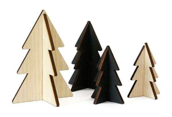 Houten kerstboompjes zwart hout villa madelief