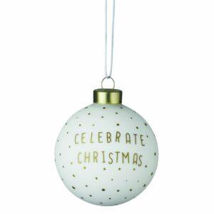 hippe kerstbal goud wit celebrate christmas räder