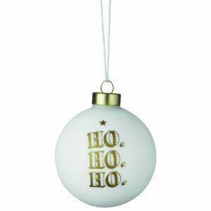 hippe kerstbal goud wit ho ho ho räder