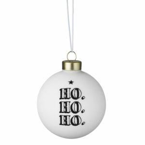 hippe kerstbal zwart wit ho ho ho räder