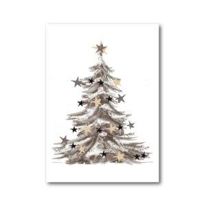 hippe kerstkaart kerstboom met glanzende sterren