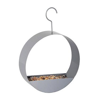 hip vogel voederhuisje rond grijs