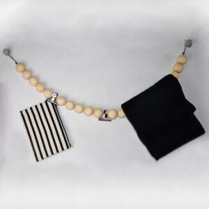 woonketting XL met metalen klemmen zwart touw