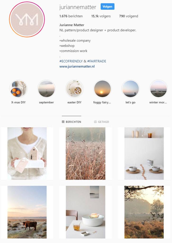 Jurianne Matter Instagram natuur
