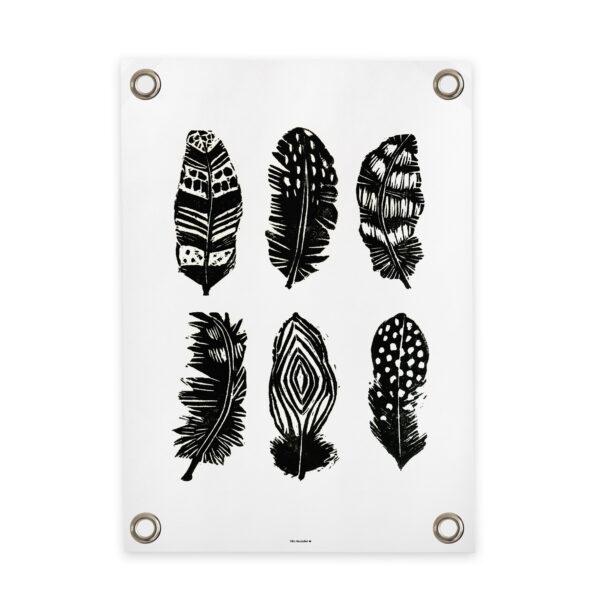 Tuinposter veertjes zwart wit Villa Madelief