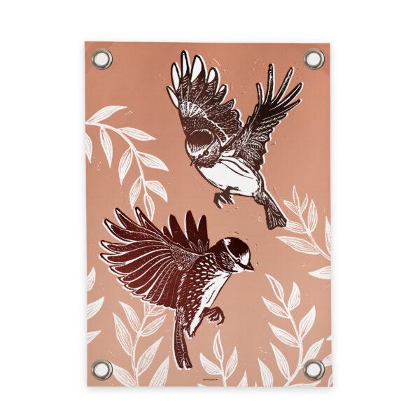 Tuinposter Vrij als een vogel roze Villa Madelief