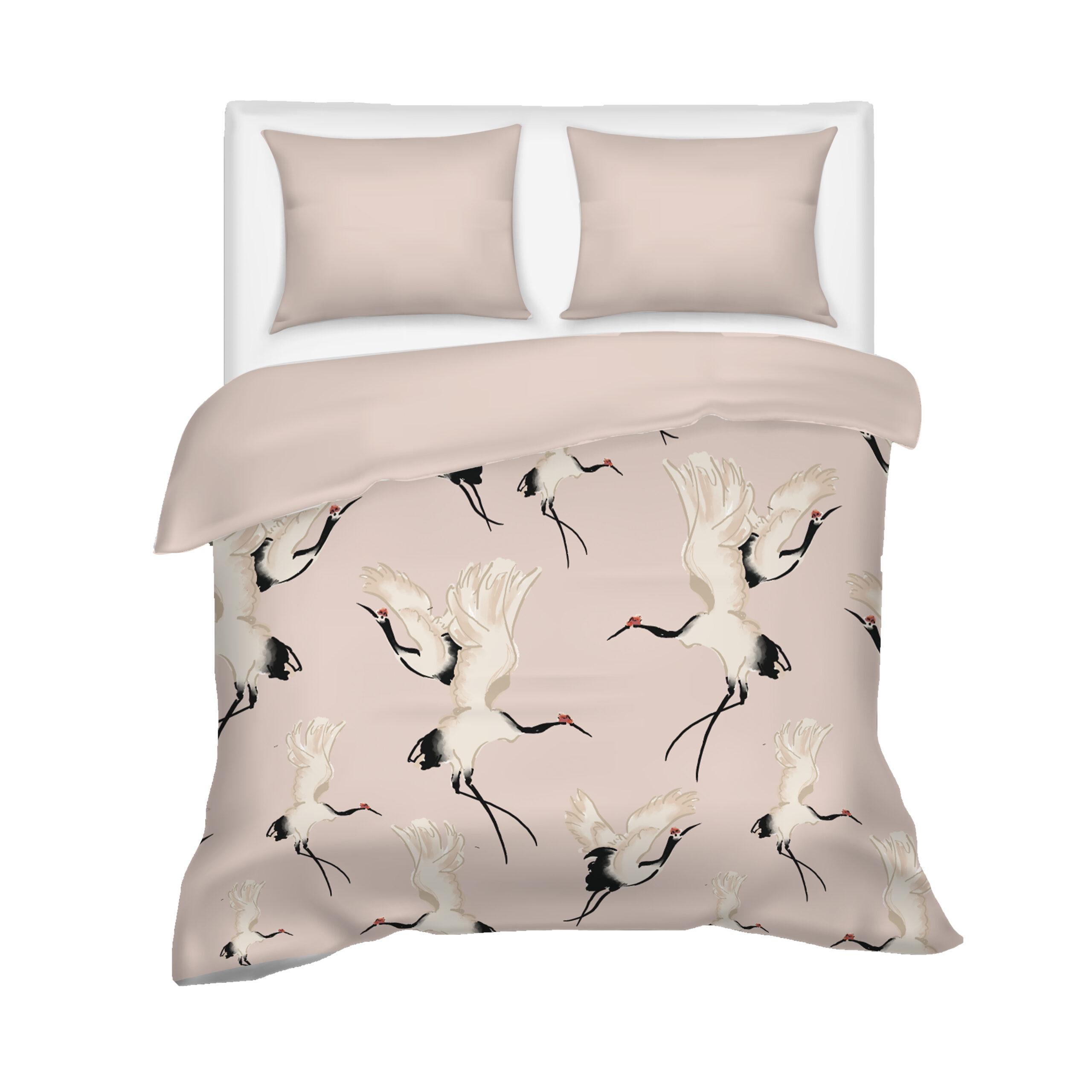 Dekbedovertrek kraanvogels roze
