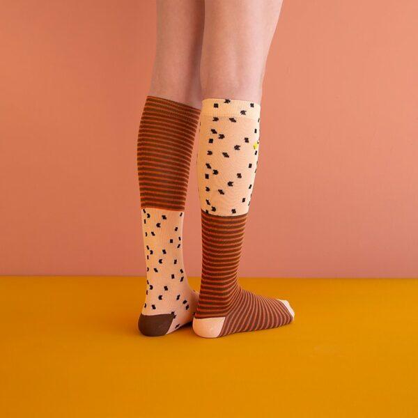 Kneehighs socks sprinkles apricot orange