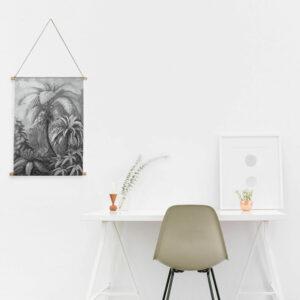 Interieurbanner jungle zwart wit