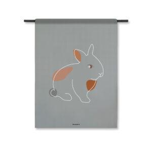 Wandkleed konijn grijs