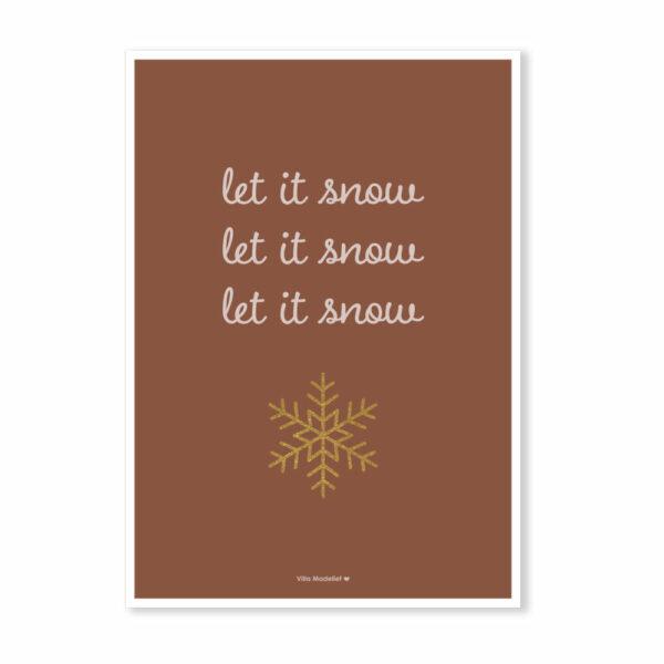 Hippe kerstkaart Let it snow Villa Madelief