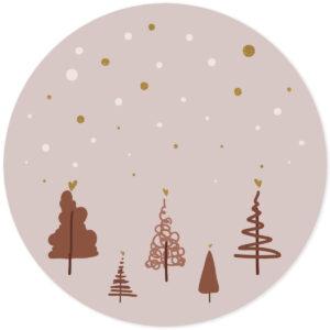 Muursticker kerstbomen bruin