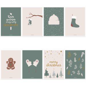 Kerstkaarten tekst Villa Madelief set van 8