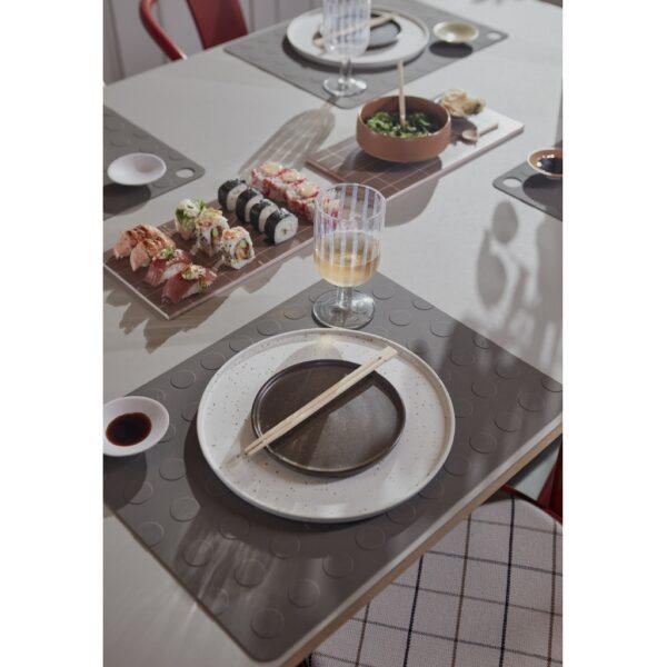 Dinerbord wit gespikkeld