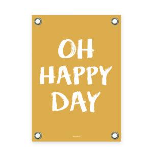 Tuinposter geel wit happy day