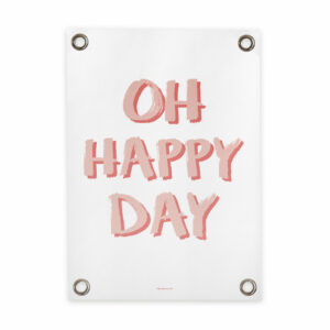 Tuin poster wit roze happy day