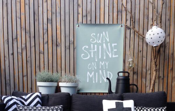 Tuinposter groen wit sunshine
