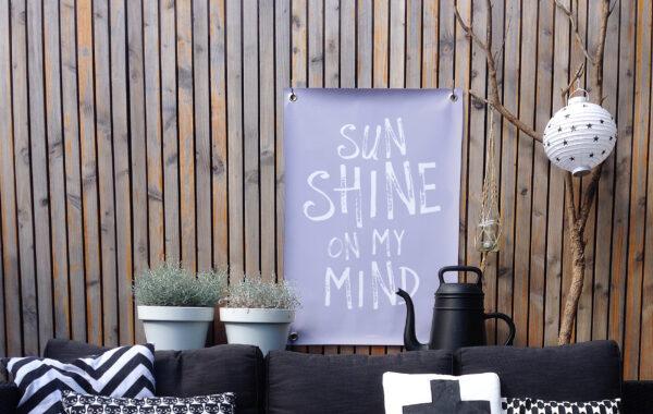 Tuinposter paars wit sunshine
