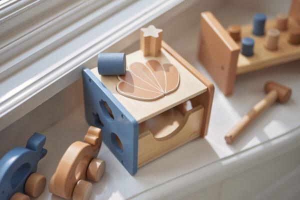 Jollein houten vormenstoof blauw