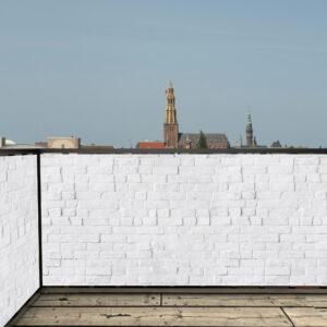 Balkonscherm stenen wit