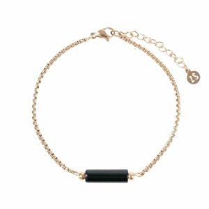Zusss armband obsidiaan goud