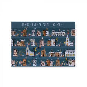 Sinterklaas ansichtkaart straat