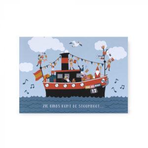 Sinterklaas ansichtkaart stoombooot